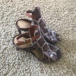 Open toe crocodile print heels
